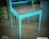 Vintage Industrial Standing Foremans Desk - Reclaimed Work Desk - Modern Industrial - Steel Top Desk - IndustrialReclaim.com