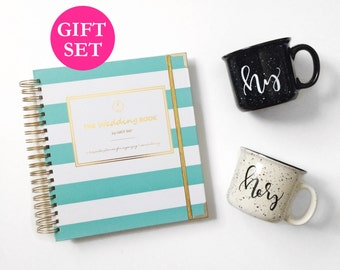 Wedding Planner Book Engagement Gift Set Keepsake Organizer Mug Planning Guide