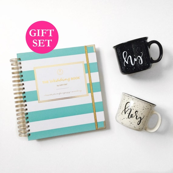NEWLY LAUNCHED! The Monogrammed Engagement Gift Set allows you to customize the cover of The Wedding Book with up to 7 monogrammed characters (example: ABC♥DEF)