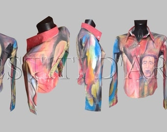 HAND PAINTED SHIRT for party shirt art wearable art clothing for wedding shirts for womens clothing festival clothes plus size clothing art
