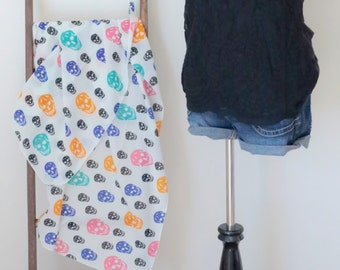 SUMMER SALE!!! Cheerful Sugar Skull Scarf - soft and silky touch, chic pattern TN0822_2