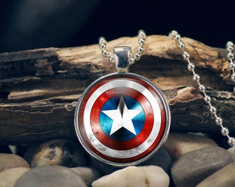 Captain America, Shield Necklace, Shield Pendant, Captain America Pendant, Captain America Jewelry, Pendant with 24 inches Ball Chain n2