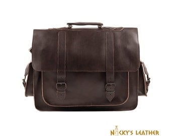 LEATHER MESSENGER BAG  from 100% Full Grain Leather Dark Brown Color
