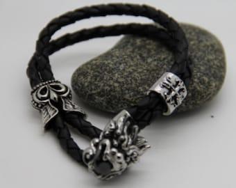 Bracelet men rocker leather and steel vintage