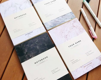 DISCOUNTED PRICE- Marble Notebooks, Minimalist Design Journal, Modern Christmas Birthday Gift, Anniversary, Set of Four Collection, Bundle