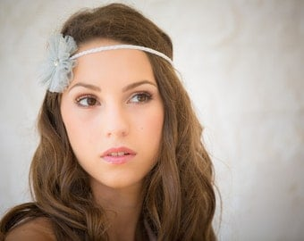 White crocheted cotton headband with tulle flower silver swarovski crystal heart