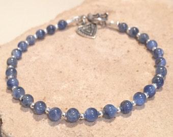 Blue bracelet, kyanite bracelet, gemstone bracelet, sterling silver bracelet, charm bracelet, sundance style bracelet, gift for her