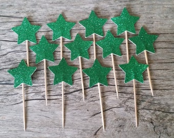 12 Green Star Cupcake Toppers