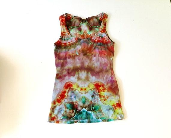 Women's Mandala XS-S tank Ice Dyed - tie dye shirt - Fine quality dress shirt festival top - burning man - sleevless tee  tank FREE SHIPPING