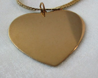 Large Gold Tone Heart with Herringbone Style Necklace