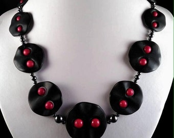 Necklace black basalt