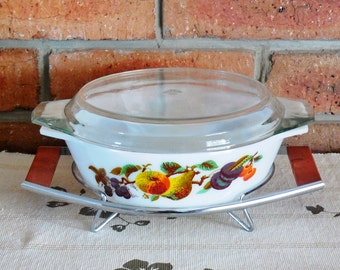 JAJ Kent Orchard Hawaii pyrex casserole bowl with lid and original stand 1960s