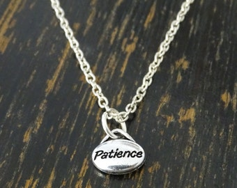 Patience Necklace, Patience Charm, Patience Pendant, Patience Jewelry, Calm Necklace, Motivational Necklace, Inspirational Jewelry, Balance