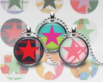 STAR CIRCLE, 1 Inch Circle, Pendants, Necklaces, Magnets, Stickers, Commercial Use, Scrapbooking, Printable, Instant Download, jpeg
