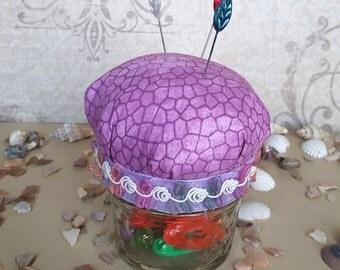 Cute Mason Jar Hijab Pin Cushion - Lavender Mosaic