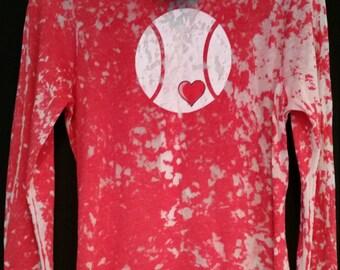 Tennis red acid wash full zip hoodie