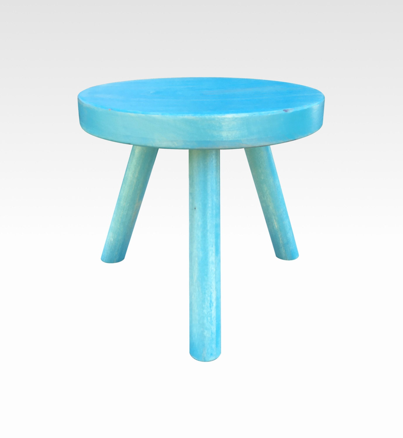 Small Wood Three Legged Stool Modern Plant Stand In Aqua By