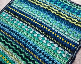 Crochet Baby Blanket Pattern / Tutorial: Baby Blues Blanket Crochet Pattern, Mixed Stitch Blanket, Baby Boy, Baby Girl - Instant Download