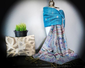 Turquoise Pashmina | Birthday Gift For Sister |Turquoise Scarf |Winter Scarves |Aqua Shawl Wrap |Rainbow Stripe Scarf |Fashion Accessories