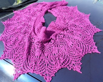 evening wraps Knit lace scarfShawl with beads Purple shawl Semicircular shawl for evening dress Shawl for summer Knit shawl Elegant shawl