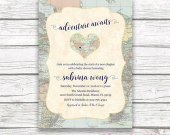 travel baby shower invitation | etsy, Baby shower invitations