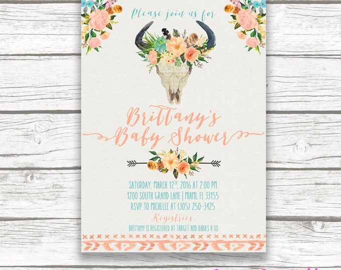 Coral and Turquoise Boho Baby Shower Invitation, Antler Tribal Watercolor Floral Cow Skull Boy Girl Invite, Southwestern Bohemian, Printable