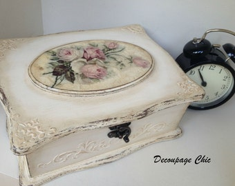 Jewelry box, vintage keepsake decoupage box