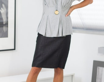 Classic pencil skirt designed & made in Germany black with glossy Gr. 34, 36