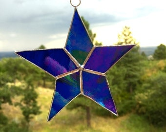Stained glass simple dark blue star suncatcher