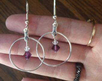 Purple Swarovski Elements Earrings