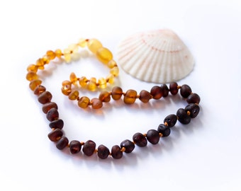 Sunset - Children's Baltic Amber Necklace, Raw Natural Amber Child's Necklaces, Kid's Bead Jewellery