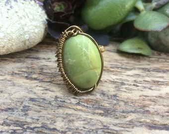Serpentine Wire Wrapped Ring, serpentine, wire wrapped ring, bohemian, serpentine ring, green ring, wire wrapped, size 4