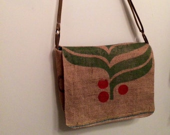 Burlap coffee bag cross body bag messenger bag