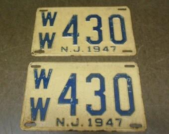 Pair of 1947 New Jersey License Plates WW 430 - N.J. Vintage Plates Automotive Transportation Man Cave Garage Decor