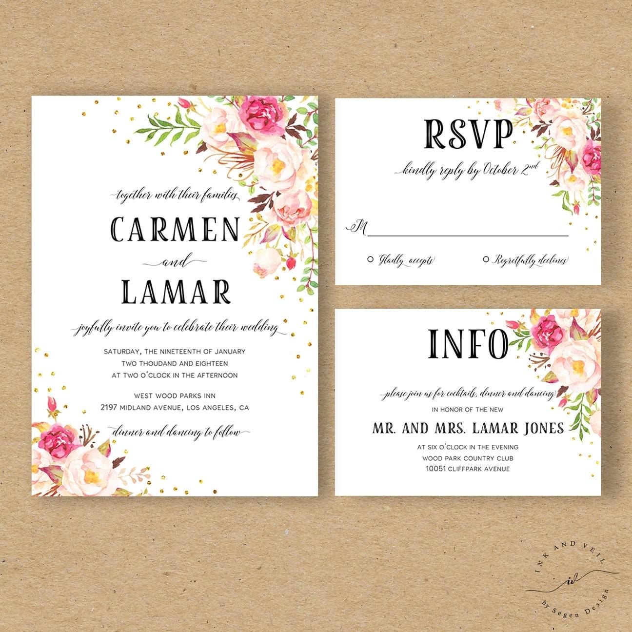 Bohemian Wedding Invitations: Bohemian Floral Wedding Invitation Boho Wedding Invite