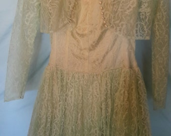 1950's lite green formal dress with full skirt, petticoat and jacket, small/med