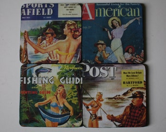 Retro 40s 50s Fishing Coasters 4 Square Pin Ups Appeal Saturday Evening Post Fishing Guide Father's Day Unique Gifts Hostess Gift