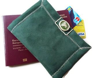 Passport Holder - Passport Cover - Green Passport Holder- Passport Pouch- Passport Case- Pabric Passport Case- Travel Gift - Passport Wallet