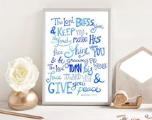 The Lord Bless You and Keep You - Bible Verse Print - Hand Lettered Typography Design