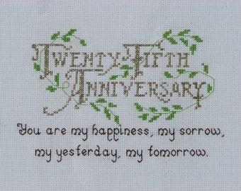 25th Wedding Anniversary Counted Cross Stitch