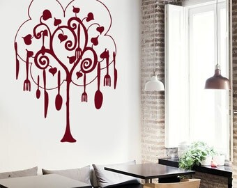 Wall Vinyl Decal Kitchen Pots and Pans Tree Ornament Awesome Decor for Kitchen and Restaurants (#1039da)