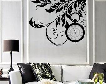 Wall Vinyl Decal Floral Flower Clocks Dreams Fantasy Amazing Decor 1365dz