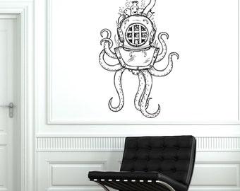 Wall Vinyl Octopus Ocean Old Helmet Sea Marine Mural Vinyl Decal Sticker 1771dz