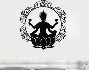 Wall Vinyl Decal Buddha Buddhism Lotos Mandala Meditation Decor 2298di