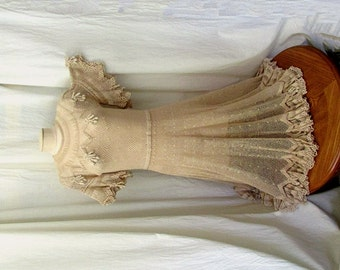 Vintage CROCHET DRESS Ruffle Sleeves & Hem Buttons up the Back Embellished Fruit Flower Dangle Details Tea dyed Ivory Beige Off White