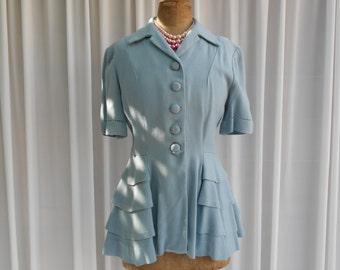 Vintage Handmade Linen Jacket  Blouse - 1940's Vogue Sewing Pattern  #20032