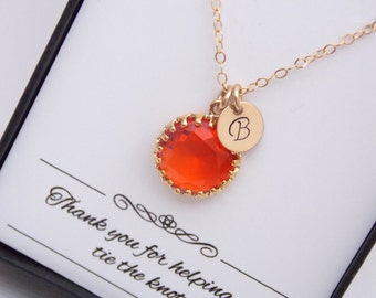 Gold Orange Necklace, Initial Orange Charm, Tangerine, Carnelian Pendant, Gold Filled, Bridesmaid Jewelry, Bridesmaid Necklace, Personalized