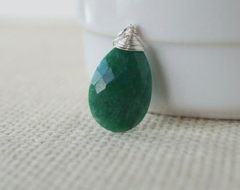 Genuine Emerald Pendant - Sterling Silver Wrapped Dangle Briolette - Natural Green Emerald Gemstone Necklace Jewelry - May Birthstone