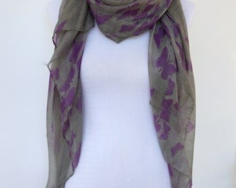 Grey Women Scarf, Butterfly Scarf, Purple Womens Viscose Scarves, Fashion scarf, Boho scarf, Scarf Shawl, Women's Scarf, Gifts For Her
