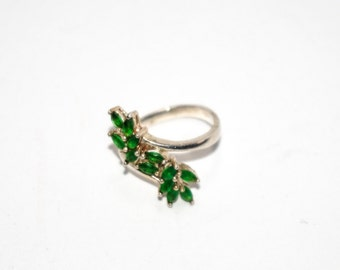 Sterling Silver 925 Vintage Green Floral Ring Size 5 1/2 3.6g 6172